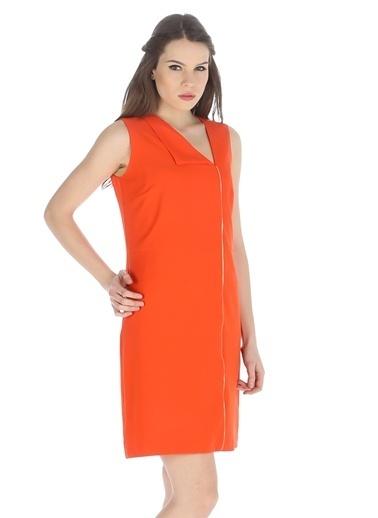 Cotton Bar Kolsuz Kısa Elbise Oranj